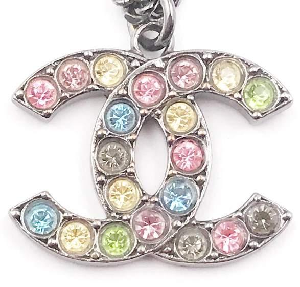 Chanel Gunmetal CC Pastel Colorful Crystal Pendant Necklace