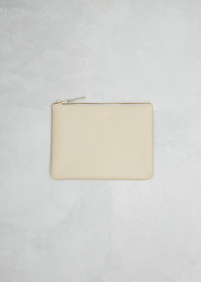 Comme des Garcons Men's Zip Pouch Wallet in Off White Leather