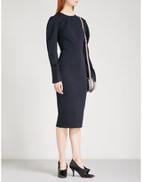 Victoria Beckham Navy Draped-Sleeve Fitted Stretch-Wool Dress