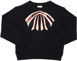 Gucci Bow Embroidered Cotton Sweatshirt