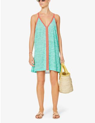 Pitusa Graphic-print crochet-trim cotton-blend mini dress