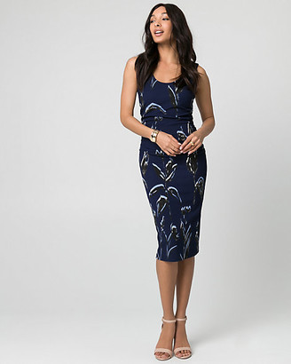 Le Château Floral Print Textured Knit Scoop Neck Dress