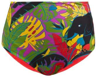 La DoubleJ Surf Elephant-print Briefs - Womens - Black Multi