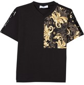 Young Versace Black and Gold Baroque Print Tee