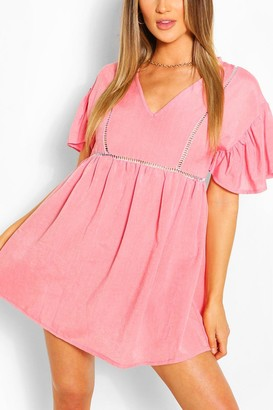 boohoo Linen Look Flared Sleeve Smock Dress