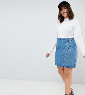 ASOS DESIGN Curve denim wrap skirt in stonewash blue