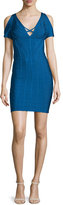 Herve Leger Cold-Shoulder Bandage-Knit Dress, Blue