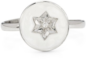 Harry Rocks North Star Enamel Ring Silver White