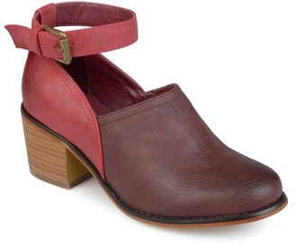 Brinley Co. Womens Faux Leather Wood Stacked Heel Ankle Strap Clogs