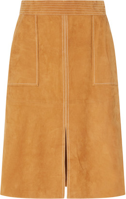 Frame Trapunto-Stitched Suede Skirt