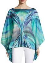 Natori Printed Cotton Voile Top, Blue/Multi