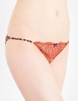 Elle Macpherson Body Wild cheetah-print lace and chiffon tanga briefs