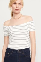 Dynamite Striped Ribbed Off-The-Shoulder Tee