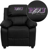 Flash Furniture Niagara University Purple Eagles Embroidered Leather Kids Recliner with Storage Arms
