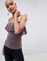 Minimum Moves By Metallic Flutter Layer Cami