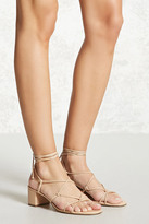 Forever 21 Faux Leather Lace-Up Heels