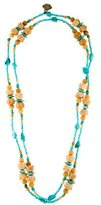 Stephen Dweck Turquoise & Carnelian Bead Necklace