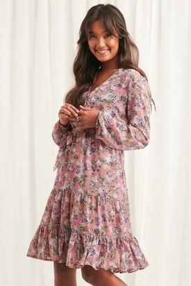 NA-KD Self-Tie Printed Midi Dress