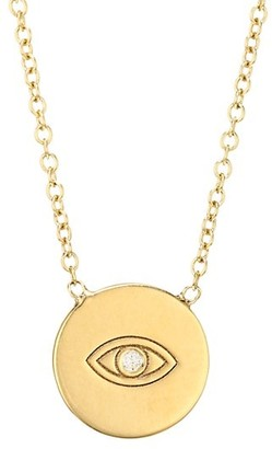 Zoë Chicco Itty Bitty 14K Yellow Gold & Diamond Evil Eye Disc Pendant Necklace
