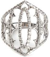 Loree Rodkin white gold and grey diamond pavé shield ring