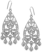 Nina Silver-Tone Swarovski Crystal Pavé Chandelier Earrings