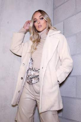 I SAW IT FIRST Cream Longline Super Soft Faux Fur Coat