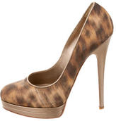Casadei Satin Round-Toe Pumps