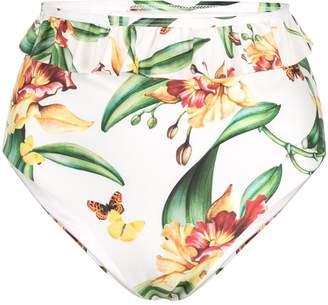 Agua Bendita Agua By ruffle-trim floral bikini
