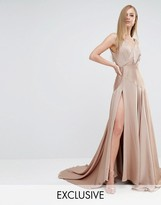 Fame and Partners Royal Satin Maxi Dress with Thigh Split