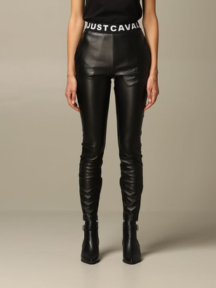 Just Cavalli Pants Leggings In Synthetic Leather With Logo