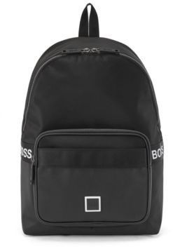 HUGO BOSS Logo Backpack In Nylon And Embossed Faux Leather - Black