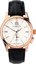 Links Of London Regent Mens Rose Gold Plate & Black Leather Watch