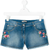 Ermanno Scervino embroidered flower denim shorts - kids - Cotton/Polyester/Spandex/Elastane - 14 yrs