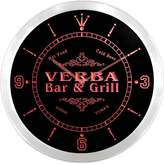AdvPro Clock ncu46795-r VERBA Family Name Bar & Grill Cold Beer Neon Sign LED Wall Clock