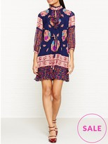 Anna Sui Bouquet Scarf Print Silk Mesh High Neck Dress