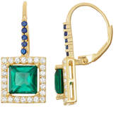 Fine Jewelry Lab-Created Emerald & Sapphire 14K Gold Over Silver Leverback Earrings