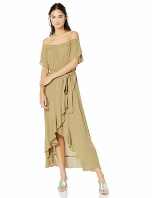 O'Neill Women's Off Shoulder Front Tie Woven Midi Dress