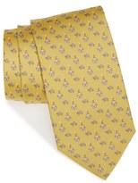 Salvatore Ferragamo Dog & Turtle Print Silk Tie