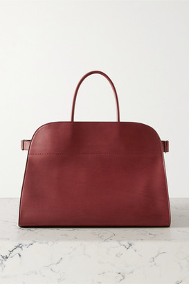 The Row Margaux 17 Buckled Leather Tote - Burgundy