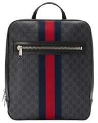 Gucci Men's GG Supreme Web Backpack - Black Grey Blue Red