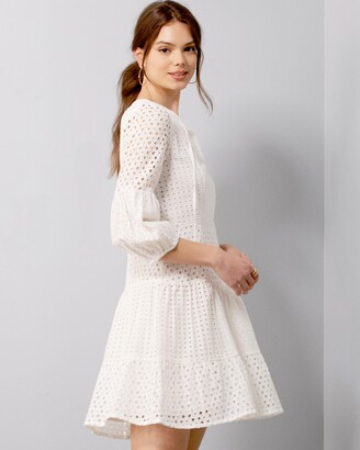 Vince Camuto Eyelet Long-Sleeve Dress