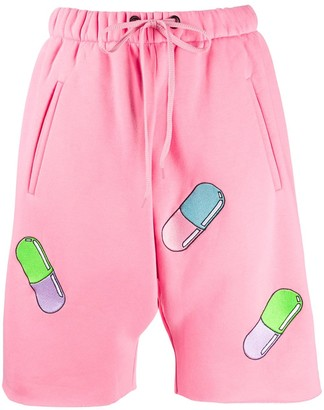 Natasha Zinko Pill-Embroidered Track Shorts