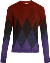 Marco De Vincenzo Diamond-intarsia crew-neck sweater