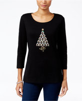 Karen Scott Petite Horseshoes Graphic Top, Only at Macy's