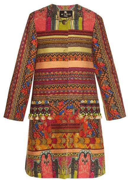 Etro - Pompom Embellished Woven Coat - Womens - Red Multi