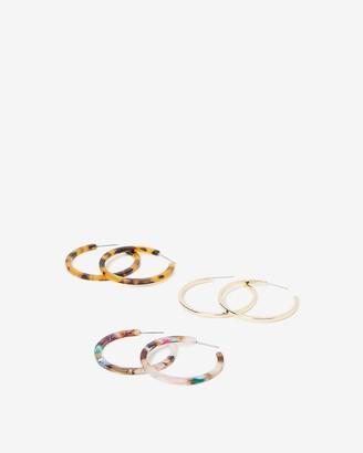 Express Set Of Three Resin Hoop Earrings