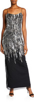 Aidan Mattox Beaded Column Gown Back Slit & Spaghetti-Straps