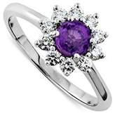 PPLuxury 14K White Gold Amethyst Diamond Flower Halo Modern Style Engagement Ring 2mm Wide