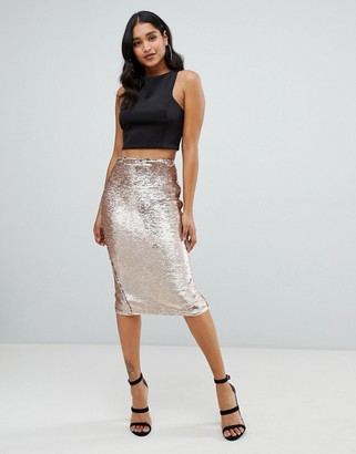 Lipsy sequin embellished midi skirt in gold