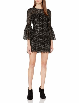 Cynthia Rowley Women's Ditzy Floral Embroidered Mesh Dress with Bell Sleeves Sheer Yoke and Trim Detail